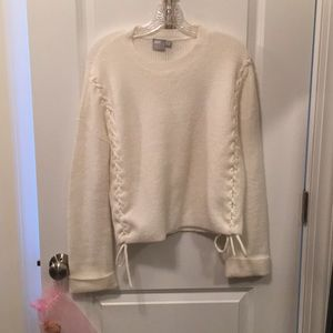 Cream ASOS sweater with lace-up sides